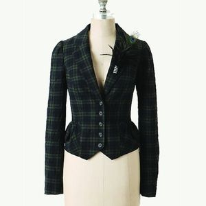 Anthropologie Elevenses Tartan Plaid Blazer